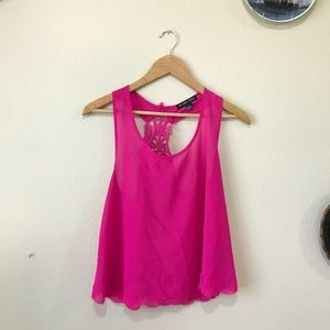 Double Zero Lace T-Back Bright Pink Tank Top